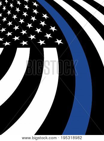 An American flag symbolic of support for law enforcement and police support background illustration. Vector EPS 10 available.