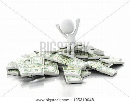 3D White People Sitting On Stack Of Bills
