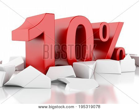 3D 10% Icon On Cracked Surface