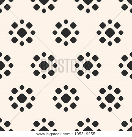 Floral background. Abstract dotted seamless pattern. Simple floral geometric shapes. Vector monochrome circles texture. Stippling background. Repeat tiles. Seamless floral pattern. Design for printing, embossing, decoration, fabric, package. Floral design
