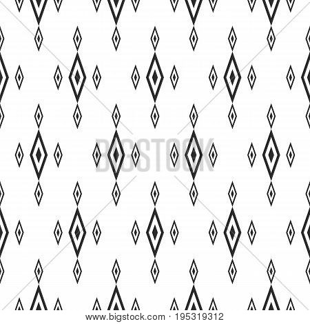 Rhombus pattern. Vector seamless pattern with rhombuses black and white traditional geometric ornament texture. Diamond background. Simple abstract monochrome background. Background of lozenges. Design for decor, prints, textile, fabric, cloth, manufactur