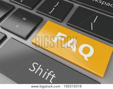 3D Close Up View Of Keyboard Faq Button