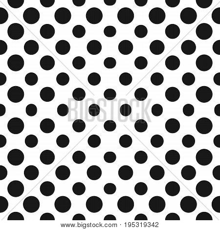 Halftone pattern. Big halftone circles vector, seamless pattern. Abstract dotted geometric texture with different dots in concentric form. Halftone texture. Monochrome background gradient, transition effect. Repeat tiles. Black & white.