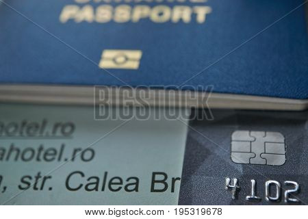Travel To Europe Hotel Reservation Visa Card And Id Passport