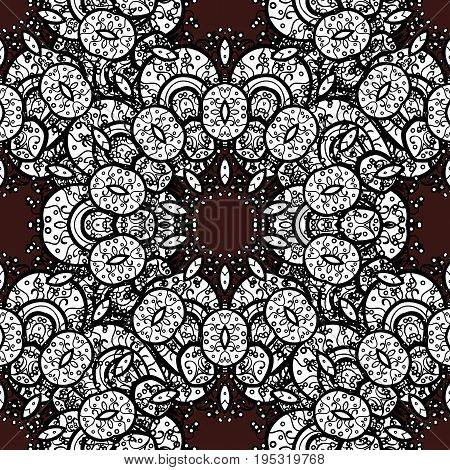 Traditional vector and white pattern. Classic oriental pattern over brown background. Damask seamless ornament.