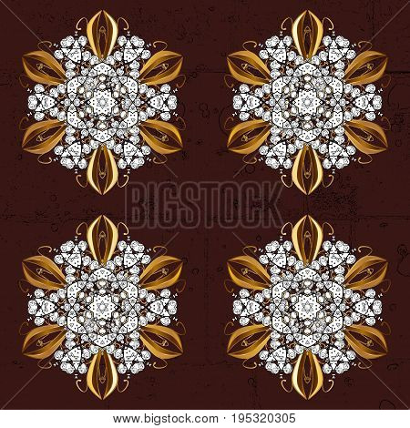 Symbol holiday New Year celebration vector golden pattern with golden elements. Christmas gold snowflake pattern. Winter snow texture sketch. Golden snowflakes on brown background.