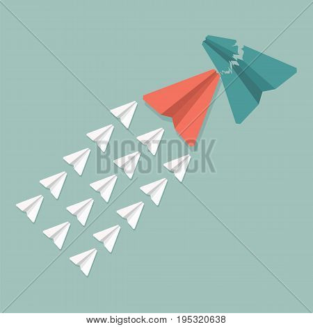 Opposition or competitor concept. Group of paper airplanes crashed green airplane.