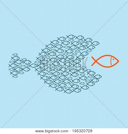Teamwork concept. A group of small fish teaming up to eat a large fish.