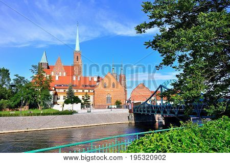 Wroclaw Poland- Panorama of the historic part of the old town