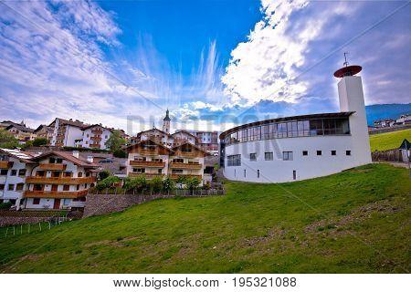 Idyllic Alpine Town Of Kastelruth On Green Hill View