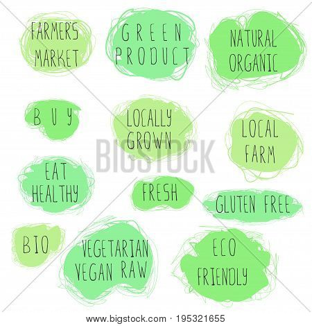 Eco food emblem set. Stock vector illustration of hand drawn lettering on ecological and vegan theme on grungy green spots for ads and banners.