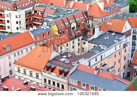 Tiled roofs in the residential area of the European city. Poland Wroclaw.