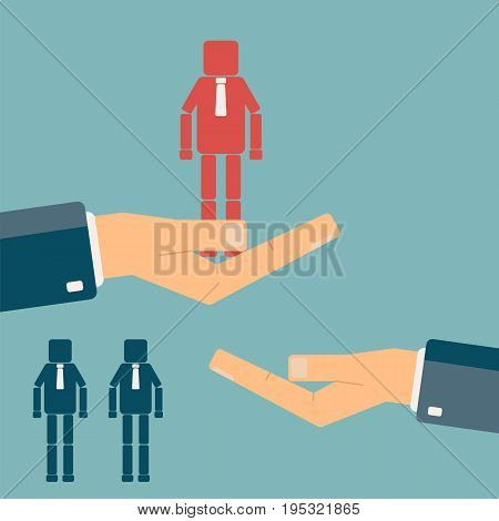 Recruitment and promotion at work concept. Hand giving a man figure to another hand. Human resource management employment. Flat vector illustration.