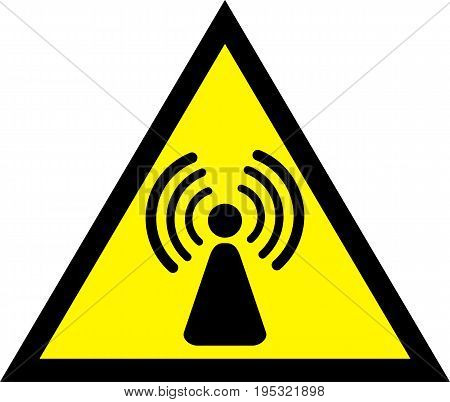 Radio waves hazard warning yellow sign. Vector illustration.