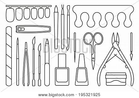 vector collection of isolated manicure tools icons