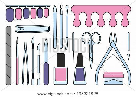 vector collection of isolated colorful manicure tools icons