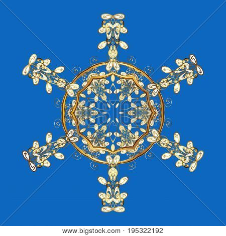 Of stylized gold snowflakes and dots on blue background. Vector abstract design.