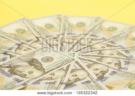 Hundred Dollar Us Bills Spread In A Circle