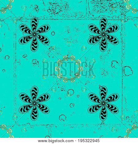 Classic vector dark pattern. Classic vintage background. Traditional orient ornament. Vector illustration. Pattern on blue and dark background with dark elements.