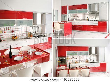 home interior shot of clean modern red kitchen design