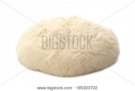 Fresh raw dough on white background