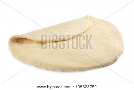 Rolled raw dough on white background
