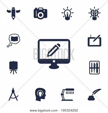 Set Of 13 Creative Icons Set.Collection Of Compass, Gadget, Concept And Other Elements.