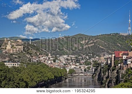 View of Tbilisi capital of Georgia from across the Kura River