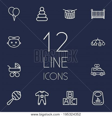 Set Of 12 Child Outline Icons Set.Collection Of Toys, Alphabet Cubes, Clockwork Car And Other Elements.