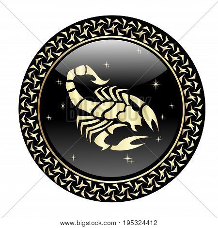 Scorpio zodiac sign in circle frame, vector Illustration. Contour icon.