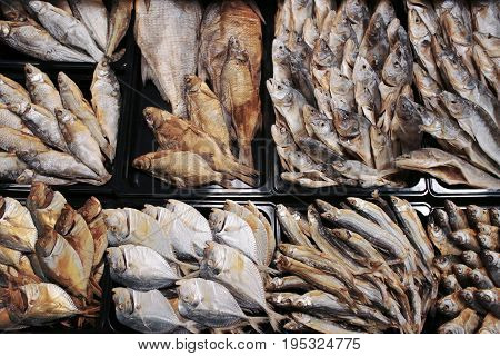 Dried and cured fish in supermarket