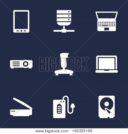 Set Of 9 Computer Icons Set.Collection Of Hard Disk, Supply, Joystick And Other Elements.