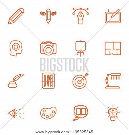 Set Of 16 Constructive Outline Icons Set.Collection Of Property Plan, Brain, Dslr Camera And Other Elements.