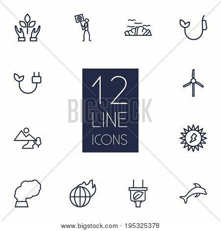 Set Of 12 Ecology Outline Icons Set.Collection Of Fuel, Global Warming, Plug And Other Elements.