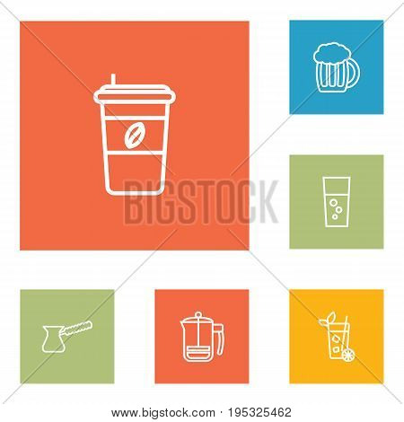 Set Of 6 Drinks Outline Icons Set.Collection Of Fizzy Water, French Press, Pot And Other Elements.
