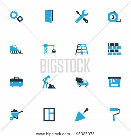 Industry Colorful Icons Set. Collection Of Dozer, Gear, Screwdriver And Other Elements. Also Includes Symbols Such As Wrench, Mechanical, Trowel.