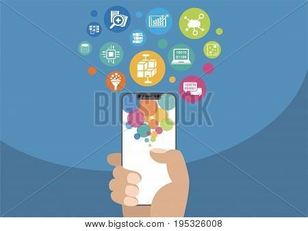 Big data and mobile analytics concept as vector illustration with hand holding modern bezel-free / frameless smartphone and icons