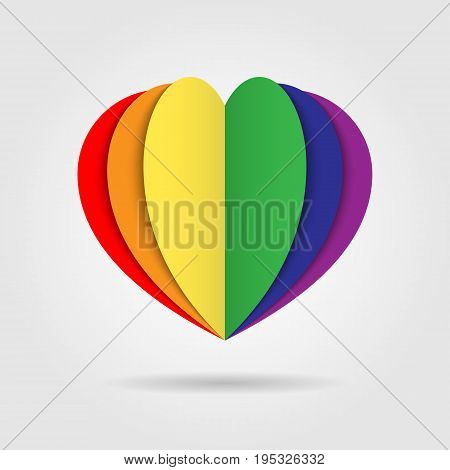 Rainbow heart icon logo on white background, LGBT pride symbol, Multicolored logo, Homosexual love concept, symbol of lesbian, gay, bisexual