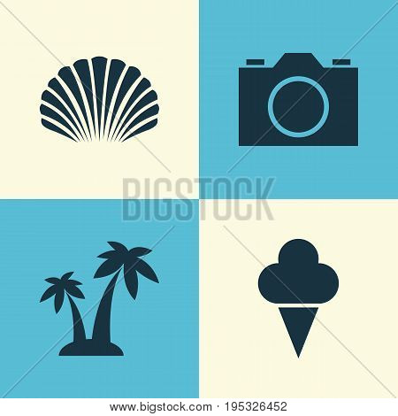 Season Icons Set. Collection Of Sorbet, Conch, Video And Other Elements. Also Includes Symbols Such As Trees, Cocos, Sea.