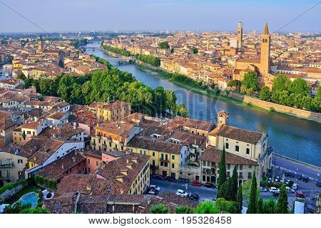 Verona. Image of Verona Italy during summer sunrise. The famous tourist sight. Main observation deck.