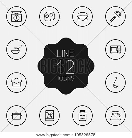 Set Of 12 Culinary Outline Icons Set.Collection Of Soup, Microwave, Omelette And Other Elements.