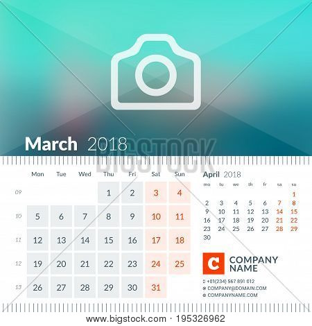 March 2018. Calendar For 2018 Year. Week Starts On Monday. 2 Months On Page. Vector Design Print Tem
