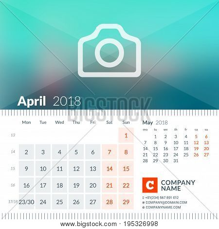 April 2018. Calendar For 2018 Year. Week Starts On Monday. 2 Months On Page. Vector Design Print Tem