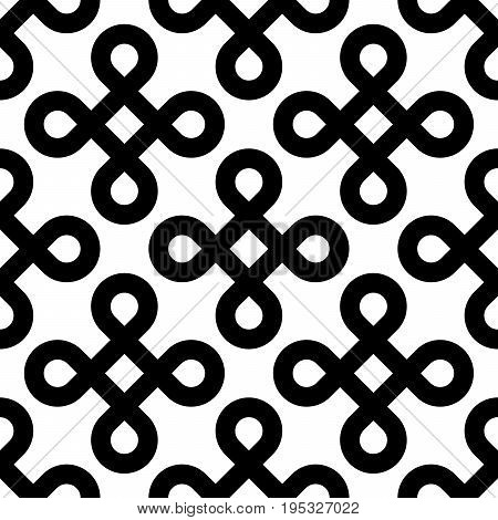 Abstract seamless pattern background. Black bowen knots, or loop square, design elements in diagonal arrangement isolated on white background. Vector illustration.