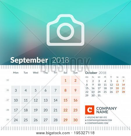 September 2018. Calendar For 2018 Year. Week Starts On Monday. 2 Months On Page. Vector Design Print