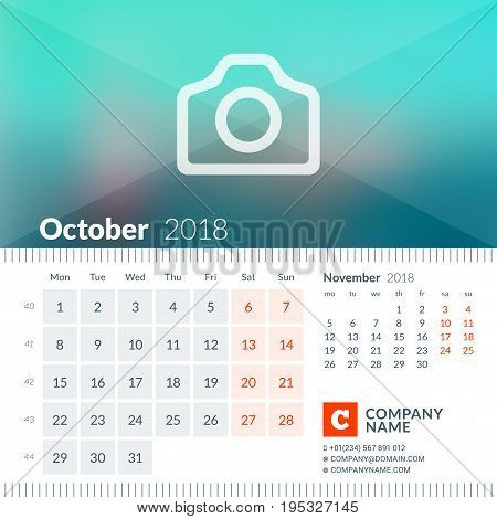 October 2018. Calendar For 2018 Year. Week Starts On Monday. 2 Months On Page. Vector Design Print T