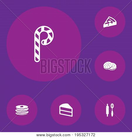 Set Of 6 Cooking Icons Set.Collection Of Striped Lollipop, Pastry, Shortcake And Other Elements.