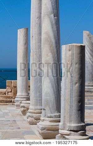 Roman Old Marbe Column Row In Caesarea Archaeological Site Close To Herod The Great Hippodrome