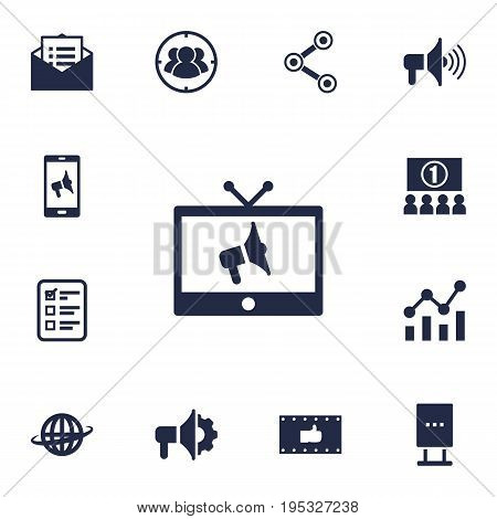 Set Of 13 Advertising Icons Set.Collection Of Share, Group, Billboard And Other Elements.