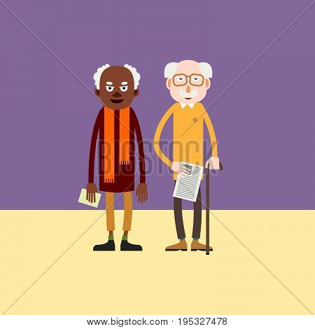 Two elderly man - african-american and white european person stand with papers in hands / Cartoon characters pensioner / Flat style vector .